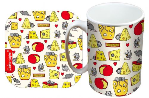 Selina-Jayne Mouse and Cheese Limited Edition Designer Mug and Coaster Set
